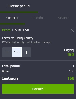 pont pariuri Leeds United vs Derby County