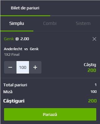 pont pariuri Anderlecht vs Genk