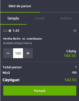 pont pariuri Hertha Berlin vs Bayer Leverkusen