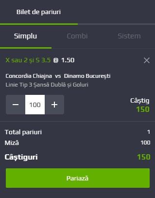 pont pariuri Concordia Chiajna vs Dinamo