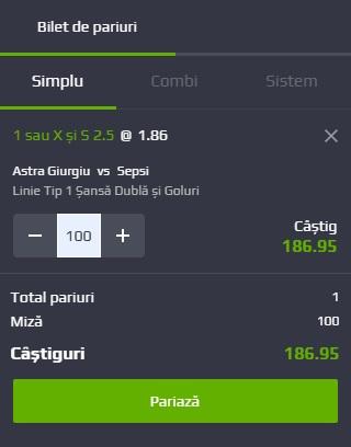 pont pariuri Astra Giurgiu vs Sepsi Sf. Gheorghe