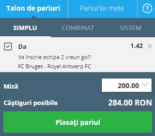 pont pariuri Club Brugge vs Antwerp