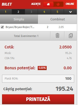 pont pariuri Bryan/Bryan vs Rojer/Tecău