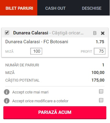 pont pariuri Dunărea Călărași vs FC Botoșani
