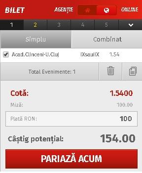 pont pariuri Academica Clinceni vs U Cluj
