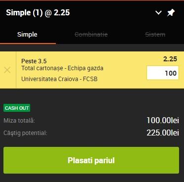 pont pariuri Universitatea Craiova vs FCSB