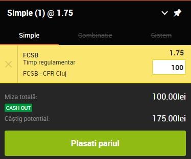 pont pariuri FCSB vs CFR Cluj
