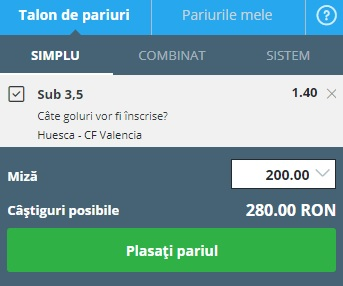 pont pariuri Huesca vs Valencia