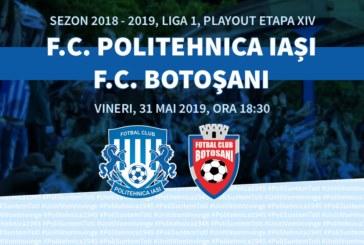 Ponturi Poli Iasi – FC Botosani fotbal 31-mai-2019 playout Liga 1