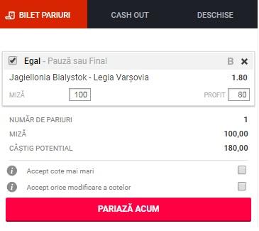 pont pariuri Jagiellonia vs Legia