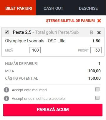 pont pariuri Olympique Lyon vs Lille