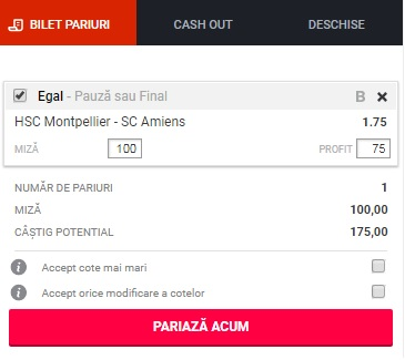 pont pariuri Montpellier vs Amiens