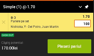 pont pariuri Yoshihito Nishioka vs Juan Martin del Potro