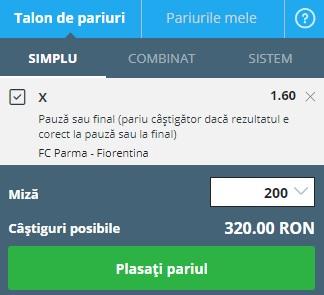 pont pariuri Parma vs Fiorentina
