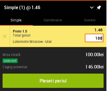 pont pariuri Lokomotiv Moscova vs Ural