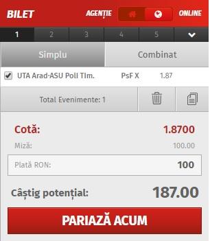 pont pariuri  UTA Arad vs ASU Poli Timişoara