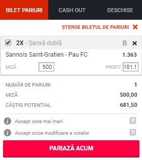 pont pariuri Sannois vs Pau