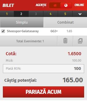 pont pariuri Sivasspor vs Galatasaray