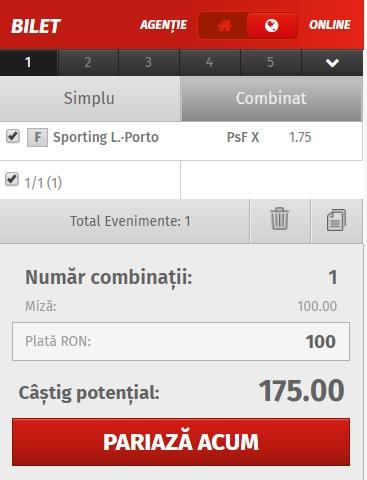 pont pariuri Sporting Lisabona vs FC Porto