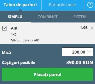 pont pariuri Sundsvall vs AIK Stockholm