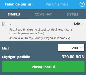 pont pariuri Aston Villa vs Derby County