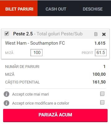 pont pariuri West Ham vs Southampton