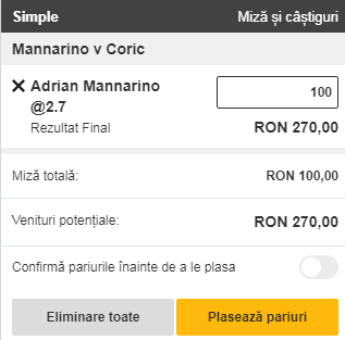 pont pariuri Adrian Mannarino vs Borna Coric