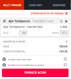 pont pariuri Ajla Tomljanovic vs Harriet Dart