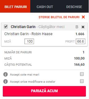 pont pariuri Christian Garin vs Robin Haase