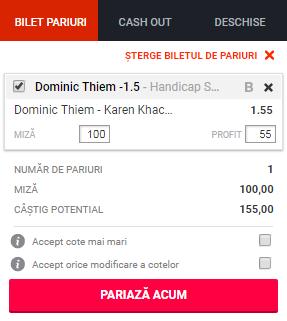 pont pariuri Dominic Thiem vs Karen Khachanov