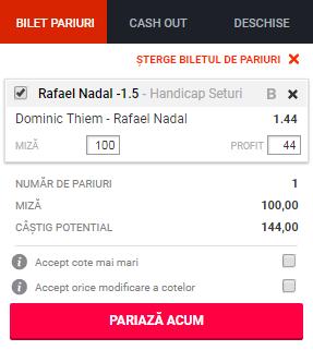 pont pariuri Dominic Thiem vs Rafael Nadal