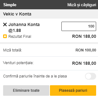 pont pariuri Donna Vekic vs Johanna Konta