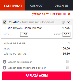 pont pariuri Dustin Brown vs John Millman