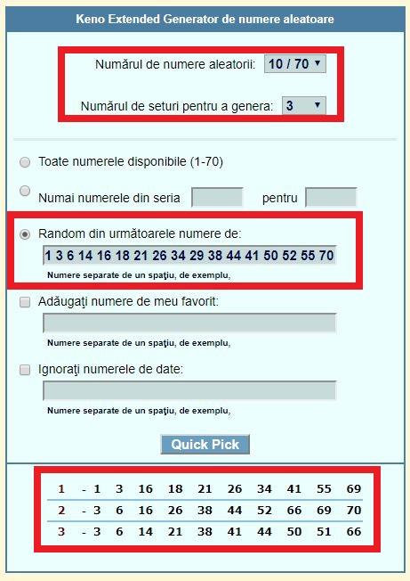 Generator numere Franța Keno după preferințe