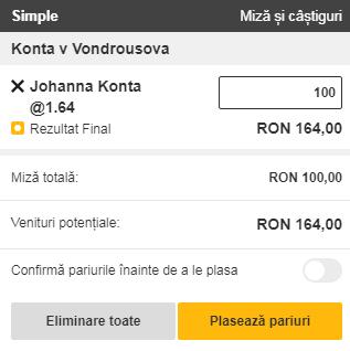 pont pariuri Johanna Konta vs Marketa Vondrousova