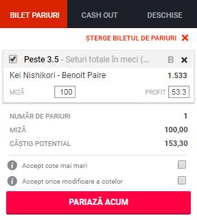 pont pariuri Kei Nishikori vs Benoit Paire