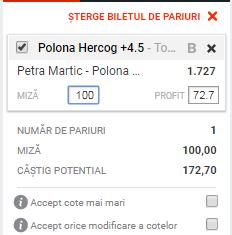pont pariuri Petra Martic vs Polona Hercog