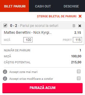 pont pariuri Matteo Berrenttini vs Nick Kyrgios