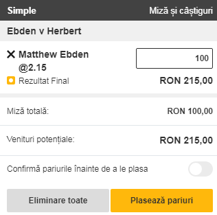 pont pariuri Matthew Ebden vs Pierre Hugues Herbert