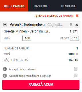 pont pariuri Greetje Minnen vs Veronika Kudermetova