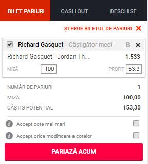 pont pariuri Richard Gasquet vs Jordan Thompson