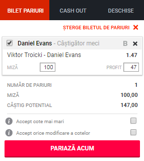 pont pariuri Viktor Troicki vs Daniel Evans