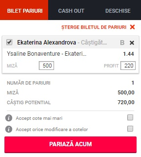 pont pariuri Ysaline Bonaventure vs Ekaterina Alexandrova
