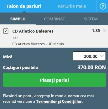 pont pariuri Baleares vs Melilla