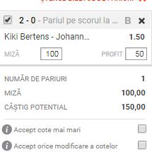 pont pariuri Kiki Bertens vs Johanna Larsson