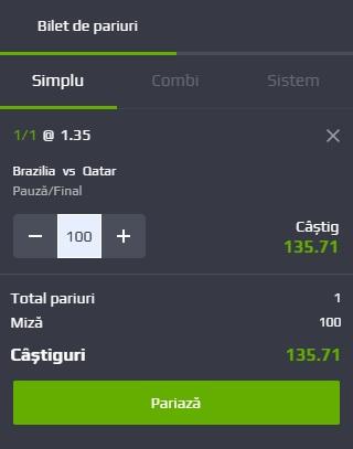 pont pariuri Brazilia vs Qatar
