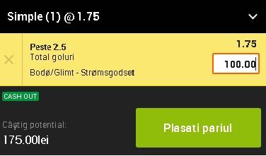 pont pariuri Bodo/Glimt vs Stromsgodset