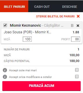 pont pariuri Joao Sousa vs Miomir Kecmanovic