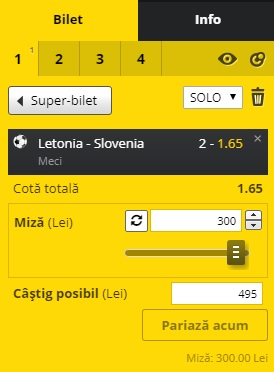pont pariuri Letonia vs Slovenia