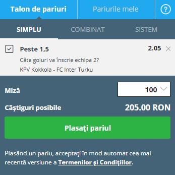 pont pariuri KPV - Inter Turku